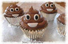 Silvia's Tortenträume: Kacki-Haufen Kacki Emjoi Kacki Cupcake Schoko-Cupcake lecker lustig