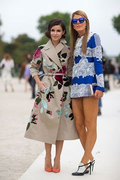 Paris Fashion Week Spring 2014 - Miroslava Duma and Anna Dello Russo in Valentino. Street style friends