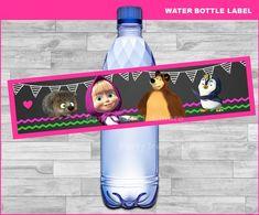 Masha and The Bear water bottle labels Instant download Masha | Etsy Baby Birthday, Birthday Parties, Birthday Ideas, Masha And The Bear, Board For Kids, Bear Party, Water Bottle Labels, Birthdays, Etsy