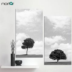 Unframed Black And White Style Canvas Painting HD Printed A lonely Tree on The Plain Home Decor Wall Art Pictures by Norlar on Etsy