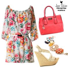 OOTD-Floral of the Story Romper, All Eyes on Me Bag-Watermelon, Tea Party Bracelet & Dream Come True Wedges by Jane Divine Boutique www.janedivine.com