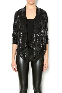 Sequin jacket with a drape front and full lining. A great statement piece to wear over your going out look. Pair with a sleeveless dress.   Sequin Jacket by Double Zero. Clothing - Jackets, Coats & Blazers - Jackets Manhattan, New York City New York City
