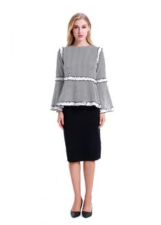 Elegant Modest Top With Bell Sleeve. Made of a very fine Black & White Stripe Poly with a Back Zipper. Model is wearing a size Small. For sizing please refer to our body measurements in the pictures. Long Skirt Outfits, Modest Outfits, Modest Fashion, Cute Outfits, Apostolic Fashion, Modest Clothing, Jean Skirts, Denim Skirts, Midi Skirts