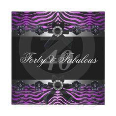 40th Birthday Party Silver Purple Pink Black White Invitations by zizzago.com