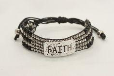 FAITH Black Slide Knot Bracelet