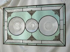 1930s Depression Glass Plate Home Decor Heritage Stained Glass Panel Window Valance