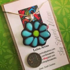 Shy Spring Bloom  fused glass pendant by LeisaWorks by leisaworks, $27.00