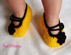 Yellow handmade crochet baby girl shoes Ballerina ♡ by TheCCVillage