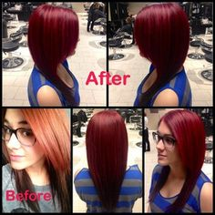 .@Bea Beluan Hair Salon   Gorgeous transition from VIVIDS red to a dark mahogany red by @Jacquelyn Cole Chavarria...   Webstagram - the best Instagram viewer
