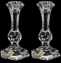 Crystal Candlesticks Glass Cut Vintage Lead Candle Holders Stunning Pair Decor