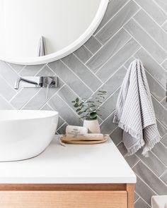 Grey herringbone tile bathroom wall - April 13 2019 at Bad Inspiration, Bathroom Inspiration, Bathroom Ideas, Bathroom Inspo, Bathroom Renovations, Bathroom Designs, Budget Bathroom, Bath Ideas, Bathroom Interior Design