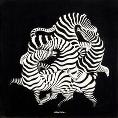 """""""La danse des Zèbres"""" Peinture de l'artiste hongrois Victor Vasarely -1938-"""