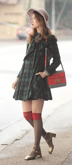 Cut in dolly loose shape, featuring big bowknow decor in front and classic tartan pattern, stand collar and belted cuffs, this dress represents your most cheering holiday spirit. Add a red beret and pair of boots to fresh up the day!  Mayo Wo