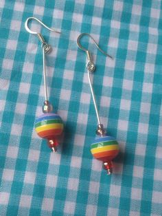 Earrings ~ rainbow striped bead ~ drop earrings ~ silver plated earring hooks ~ fun dangle colour bright stripes by Nerdacious on Etsy