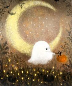 Halloween Illustration, Illustration Art, Illustrations, Vintage Halloween, Halloween Crafts, Happy Halloween, Halloween Decorations, Art Mignon, Cute Ghost