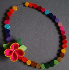 Felt necklace rainbow multicolor beads by IfffkaDesign on Etsy