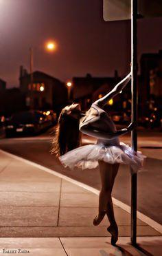 In the street light.