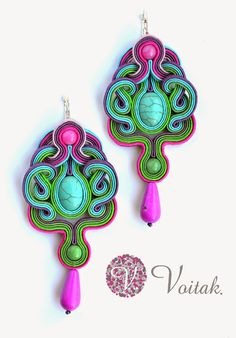 Boho Jewelry, Jewelry Design, Jewelery, Handmade Necklaces, Handmade Jewelry, Soutache Tutorial, Soutache Necklace, Body Adornment, Polymer Clay Charms