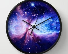 Galaxy Nebula Blue Wall Clock by Whimsy Romance & Fun By Des - Black - Black Pink Clocks, Blue Wall Clocks, Bedroom Themes, Home Decor Bedroom, Galaxy Decor, Galaxy Bedding, Galaxy Homes, Galaxy Print, Blue Walls