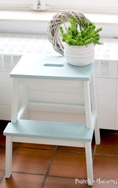 IKEA Step Stool Makeover by Pastels & Macarons.