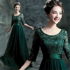 Green Lace Evening Party Prom Dresses Bridesmaids Dress Gown Half Sleeve Y324F