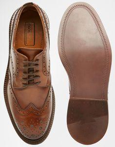 Imagen 3 de Zapatos Oxford de cuero marrón con suela gruesa de ASOS