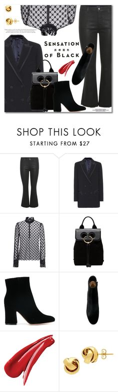 """""""Mission Monochrome: All-Black Outfit"""" by svijetlana ❤ liked on Polyvore featuring J Brand, Blazé Milano, Philosophy di Lorenzo Serafini, J.W. Anderson, Gianvito Rossi, Vision, Lord & Taylor and allblackoutfit"""