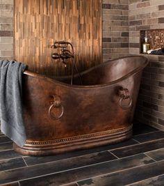 metal mosaic copper bathroom