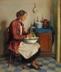 Joshua Smith, Peeling Vegetables, oil on canvas Impressionism, Australian Art, Oil On Canvas, Canvas, Painting, Armidale, Art