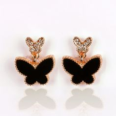Fashion Gold Clip Earrings No Hole For Women Without Piercing Black Rhinestone Butterfly Ear Clip Painless Statement Jewelry