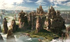 View an image titled 'Meridian City Art' in our Horizon Zero Dawn art gallery featuring official character designs, concept art, and promo pictures. Fantasy City, Fantasy Castle, Fantasy Places, Medieval Fantasy, Sci Fi Fantasy, Fantasy World, Fantasy Artwork, Fantasy Concept Art, Concept Art World