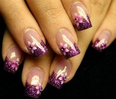 Gel Nail Art Design Idea with Silver and Pink Color - Beautiful Purple Gel Nail Art Design with Flower Petal Decals 2013