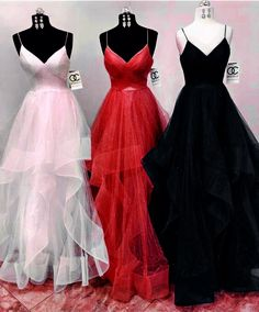 A-Line Spaghetti Straps Long Prom Dresses Formal Evening Gowns 601976 Cute Prom Dresses, Prom Outfits, Grad Dresses, Mode Outfits, Dance Dresses, Ball Dresses, Elegant Dresses, Homecoming Dresses, Pretty Dresses