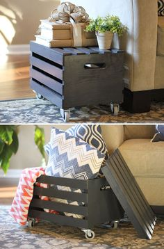 The results are really surprising, I did not think could be useful vintage wooden crate become tables, shelves, or even a storage rack in any space.