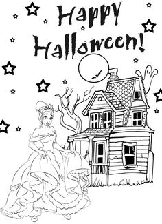 princess halloween coloring pages for kids - Disney Princess Halloween Coloring Pages