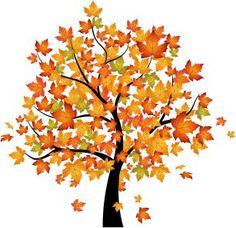 Ein herbstlicher Baum, fallende Blätter - mit diesem Wandbild kommst Du sofort in gemütliche Herbststimmung.