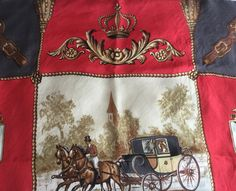 French Vintage red silk scarf square with carriage pulled by Horses de la boutique VintagedeFrance sur Etsy