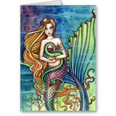 Pretty and colorful fantasy art - Mermaid and Sea Dragon - Greeting Card by Molly Harrison