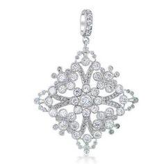 Bling Jewelry Snowflake Filigree Bezel Cubic Zirconia Vintage Pendant | eBay