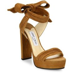 Jimmy Choo Kaytrin 120 Suede Ankle-Tie Platform Sandals ($660) ❤ liked on Polyvore featuring shoes, sandals, heels, apparel & accessories, high heel shoes, high heeled footwear, ankle strap platform sandals, jimmy choo shoes and ankle wrap sandals