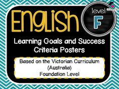 VICTORIAN CURRICULUM UPDATED TO VERSION 8.3 Foundation All English Learning Goals Success Criteria! VICTORIAN CURRICULUM This packet has all the posters you will need to display the learning goals for the whole year: Foundation VICTORIAN Curriculum English - Reading - Writing - Speaking and Listening (Language, Literature, Literacy)