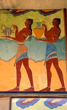 Minoan fresco (1550 BC) from Knossos Palace, Crete Island, Greece