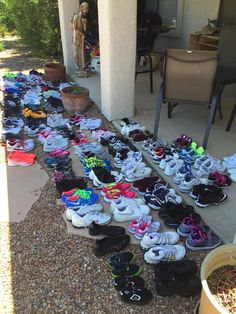 """Some of the shoes collected, cleaned, and ready to donate from our """"Soleful Schools"""" initiative in Tuscon with the University of Arizona Athletic Department and area schools."""