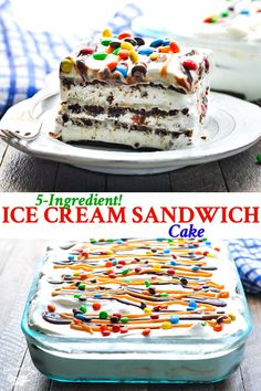 This Ice Cream Sandwich Cake is a no bake easy dessert recipe that'. This Ice Cream Sandwich Cake is a no bake easy dessert recipe that's perfect for your next summer party! Plus, it only requires about 10 minutes of prep! Ice Cream Desserts, Köstliche Desserts, Frozen Desserts, Ice Cream Recipes, Delicious Desserts, Ice Cream Cupcakes, Dessert Healthy, Ice Cream Pies, Indian Desserts