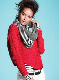 Red cable knit sweater...warm and stylish with that pop of color!  #MyVSFallEdit