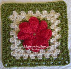 QUADRADINHO DE CROCHÊ FLOR CONE (Crochet Square)