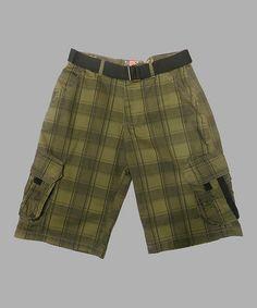 Look at this #zulilyfind! Olive & Black Herringbone Shorts & Belt - Boys #zulilyfinds