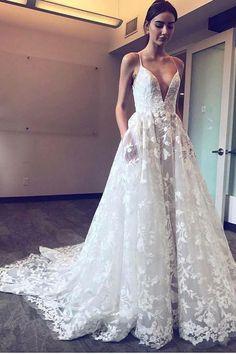 4d82fcf5cb64c Modern A-Line Spaghetti Straps Plunge Neckline Lace Applique Wedding Dress  OW307