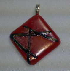Red opal with clear/black stringer iridescent fused glass pendant | dancinghorsestudio - Jewelry on ArtFire  $10 plus shipping  15% off is you spend $20 or more in my Artfire shop - use code XMAS15.