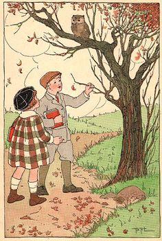 Autumn Scene - Plus Squirrel - The Graphics Fairy...for bookplate